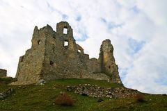 Ruin of Hrušov - castle in Slovakia Stock Photos
