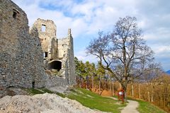 Ruin of Hrušov - castle in Slovakia. Sunny day on the hike - castle Hrušov Royalty Free Stock Images