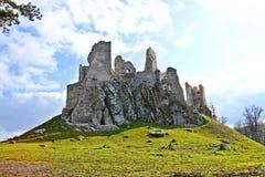 Ruin of Hrušov - castle in Slovakia. Sunny day on the hike - castle Hrušov Royalty Free Stock Image