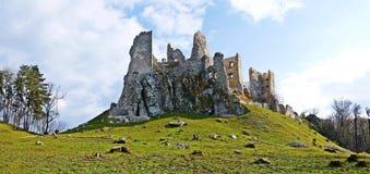 Ruin of Hrušov - castle in Slovakia. Sunny day on the hike - castle Hrušov Royalty Free Stock Photos
