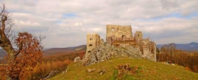 Ruin of Hrušov - castle in Slovakia. Sunny day on the hike - castle Hrušov Royalty Free Stock Photo