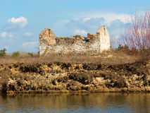 Ruin on a lake shore Royalty Free Stock Images