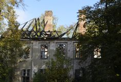Ruin of a manor house. View to a near-derelicted ruin of a manor house in Brandenburg, Germany Royalty Free Stock Images