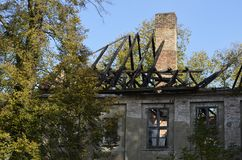 Ruin of a manor house. View to a near-derelicted ruin of a manor house in Brandenburg, Germany Royalty Free Stock Photography