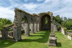 Ruin of a medieval monastery at Alvastra in Sweden. More then 900 year old ruin of a medieval monastery or cloister located in Alvastra, Sweden Stock Photos