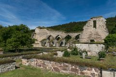 Ruin of a medieval monastery. Or cloister located in Alvastra, Sweden Royalty Free Stock Photos