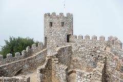 Ruin of Moorish Castle. Sintra, Portugal. View of ruin Moorish Castle Castelo dos Mouros in fog. Sintra, Portugal Stock Photography