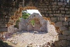 Ruin on a mountain near Baska in Croatia. The photo shows a ruin on a mountain near Baska in Croatia Royalty Free Stock Photo