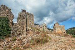 Ruin on the mountain top at the French village of Saint Montan. In the Ardeche region of France stock photos