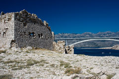 Ruin near Pag bridge Royalty Free Stock Image
