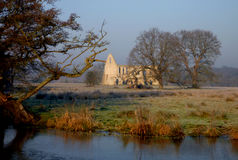 Ruins of Newark priory, on a cold and frosty winter morning. Royalty Free Stock Image
