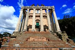 Ruin Of Roman Forum In Perfect Sky Stock Photography