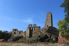 A ruin of Okor castle. The ruin of the castle is located in Central Bohemian region in the Czech Republic, about 22 kilometres from Prague city centre. The royalty free stock image