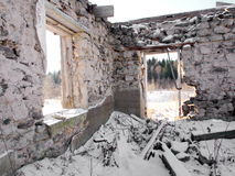 Ruin. Of an old barn in a swedish winter landscape Royalty Free Stock Image