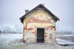 Ruin of an old brick house royalty free stock photo