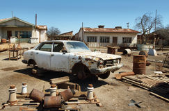 Ruin of old car in Humberstone, Chile Royalty Free Stock Photography