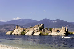 Ruin of the old castle on Lake Bafa, Turkey Stock Image
