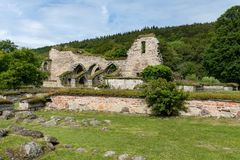 Ruin of an old cloister building on a beautiful summer day in Sw stock photo