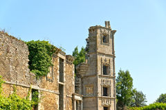 Ruin of old house with blue sky. Brittany. Royalty Free Stock Image