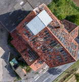 Ruin of an old house, destroyed roof, aerial photo, top view royalty free stock photo