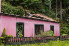 Ruin of an old house at Sao Bras on Sao Miguel island. Archipelago of the Azores in the Atlantic Ocean belonging to Portugal Stock Photos