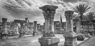 In the Ruin of the old Jewish Synagogue, Capernaum. Israel Stock Photography