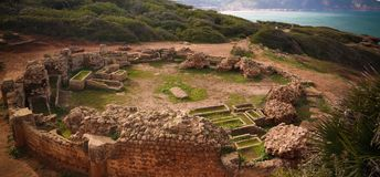 Ruin of old mausoleum in Tipasa, Algeria. Ruin of old mausoleum in Tipasa historic site , Algeria stock photos