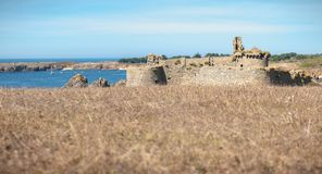 Ruin of the old medieval castle south of the island of yeu, Vendee in France stock image