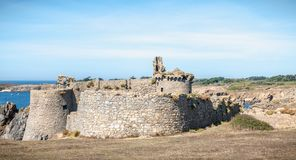 Ruin of the old medieval castle south of the island of yeu, Vendee in France royalty free stock photo