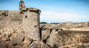 Ruin of the old medieval castle south of the island of yeu, Vendee in France stock photo