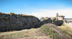 Ruin of the old medieval castle south of the island of yeu, Vendee in France royalty free stock image