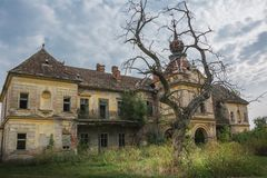An old abandoned scary castle in gothic style royalty free stock photo
