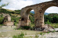 Ruin old stone bridge in Yesa Royalty Free Stock Image