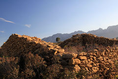 The ruin. Old stone-house ruin in the mountains Royalty Free Stock Image