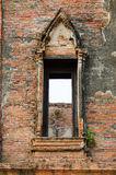 Ruin opening windows at Maheyong ancient temple, Ayutthaya, Thai Stock Photography