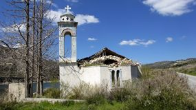 Ruin Orthodox church in the mountains of Cyprus Stock Images