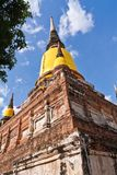 Ruin pagoda in Ayutthaya from bottom Royalty Free Stock Photo
