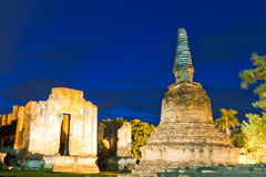 Ruin pagoda in Ayutthaya in twilight Stock Photos