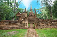 Ruin of pagoda behind the wall Stock Image