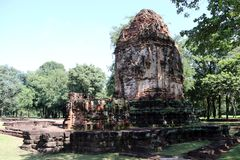 The ruin pagoda of Prang Song Phi Nong in archaeological site of Srithep ancient town in Petchaboon, Thailand. The influence of ancient Draravati and Khmer Stock Images