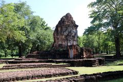 The ruin pagoda of Prang Song Phi Nong in archaeological site of Srithep ancient town in Petchaboon, Thailand. The influence of ancient Draravati and Khmer Royalty Free Stock Photos