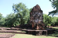 The ruin pagoda of Prang Song Phi Nong in archaeological site of Srithep ancient town in Petchaboon, Thailand. The influence of ancient Draravati and Khmer Royalty Free Stock Photography