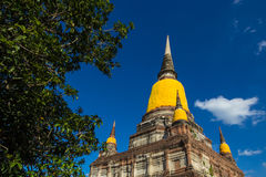 Asian religious architecture. Ancient Buddhist pagoda ruins in Ayutthaya in Thailand Stock Photography