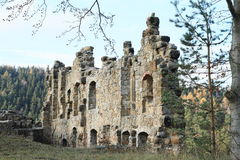 Ruin of palace of Oybin castle and monastery Royalty Free Stock Photography