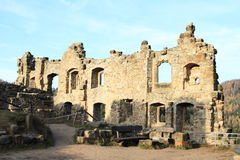 Ruin of palace of Oybin castle and monastery Royalty Free Stock Photo
