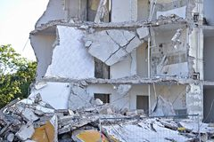 Ruin of a partly demolished residential building ground floor Stock Images