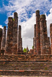 Ruin pillars of ancient temple in sukhothai Stock Image
