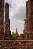Ruin pillars and pagoda in sukhothai Stock Images