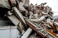 Ruin of demolished building. Ruin of a residential demolished building ,wuhan city, china stock images