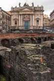 Ruin of Roman amphitheater,Catania Royalty Free Stock Photos